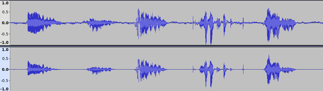 A screenshot of Audacity with two sound tracks showing the noise cancellation function
