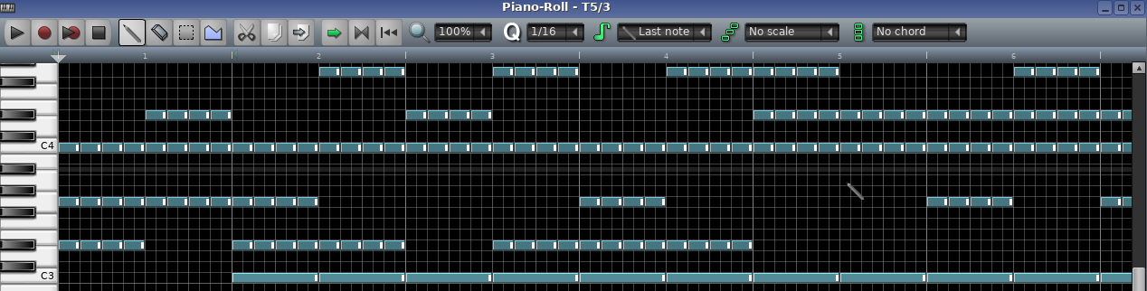A screenshot of LMMS showing notes of chords