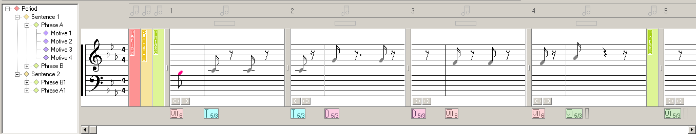 A screenshot of Musical Palette - Melody Composing Tool showing a few musical notes with chords