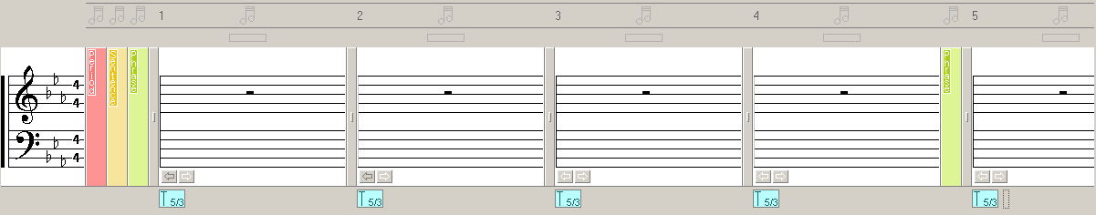 A screenshot of Musical Palette - Melody Composing Tool showing no musical notes with chords