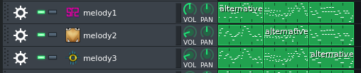 A screenshot showing a the Sequencer in LMMS with a few tracks having alternative melody