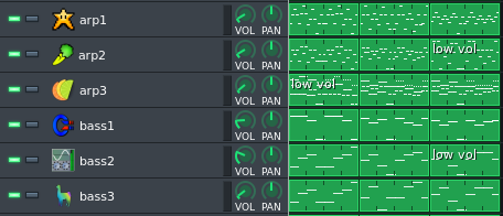 A screenshot showing a the Sequencer in LMMS with a few tracks having low volume
