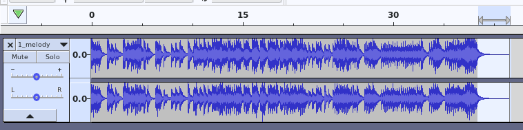 A screenshot of Audacity showing the part after 38.4 seconds is highlighted