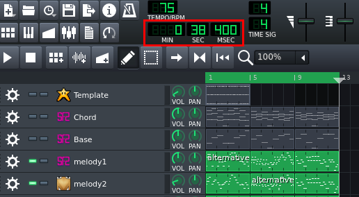A screenshot of LMMS showing the wrap time is 38.4 seconds