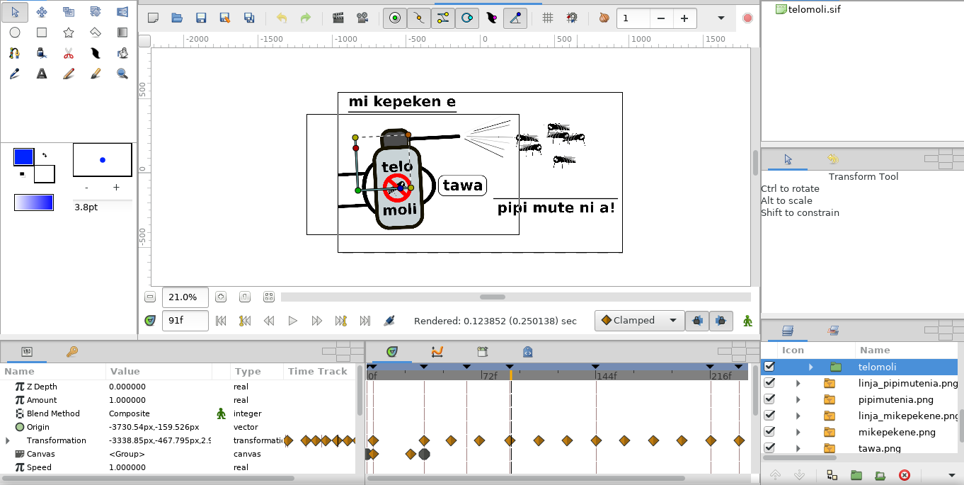 Screenshot of the animation software Synfig